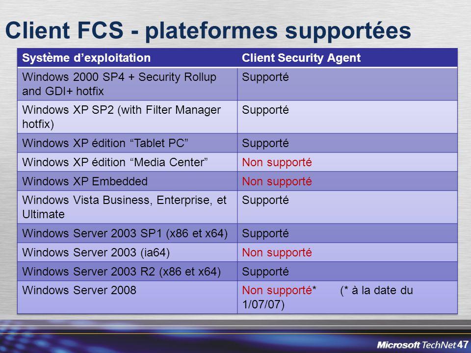47 Client FCS - plateformes supportées