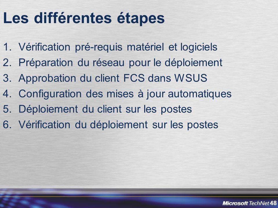 48 Les différentes étapes 1.Vérification pré-requis matériel et logiciels 2.Préparation du réseau pour le déploiement 3.Approbation du client FCS dans WSUS 4.Configuration des mises à jour automatiques 5.Déploiement du client sur les postes 6.Vérification du déploiement sur les postes