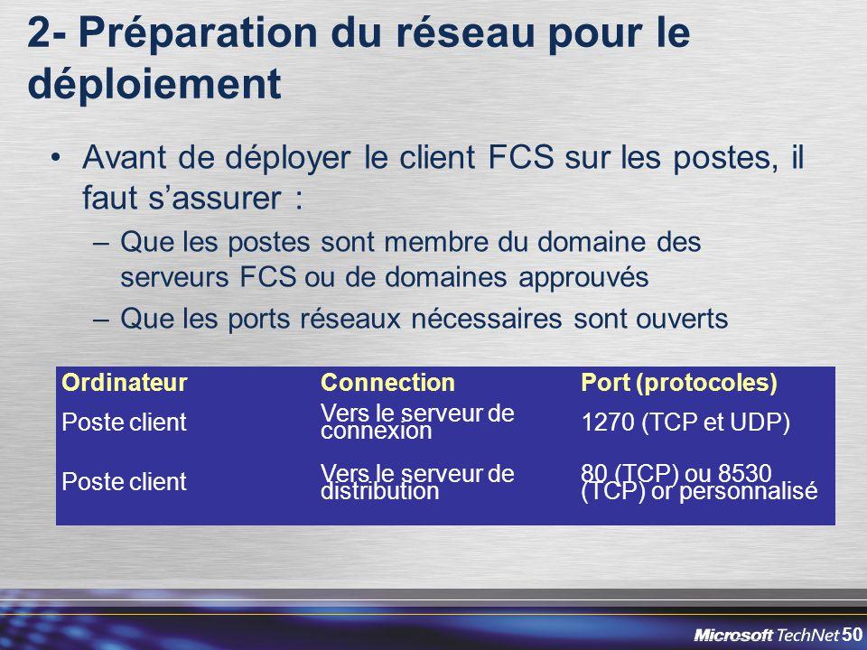 50 2- Préparation du réseau pour le déploiement Avant de déployer le client FCS sur les postes, il faut s'assurer : –Que les postes sont membre du domaine des serveurs FCS ou de domaines approuvés –Que les ports réseaux nécessaires sont ouverts OrdinateurConnectionPort (protocoles) Poste client Vers le serveur de connexion 1270 (TCP et UDP) Poste client Vers le serveur de distribution 80 (TCP) ou 8530 (TCP) or personnalisé
