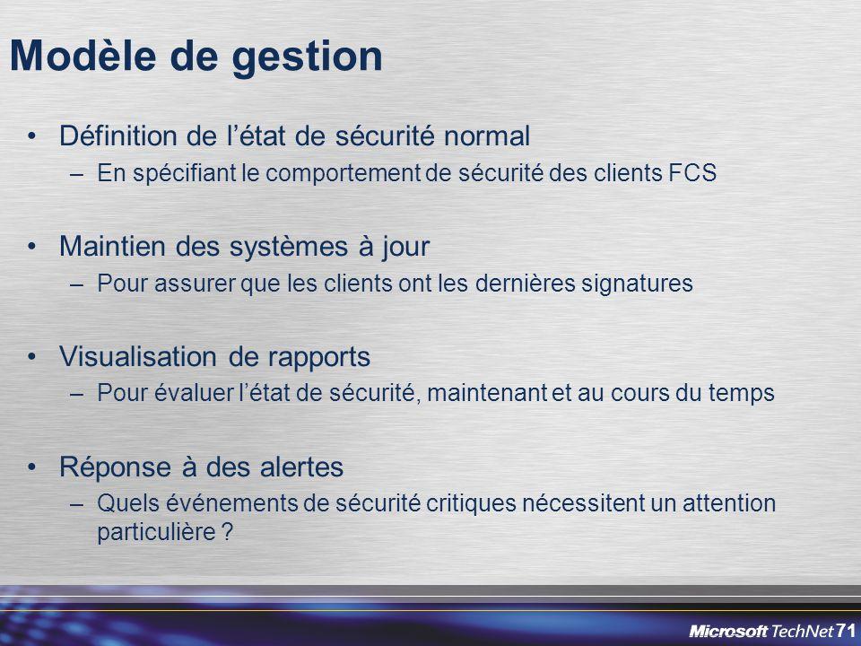 71 Modèle de gestion Définition de l'état de sécurité normal –En spécifiant le comportement de sécurité des clients FCS Maintien des systèmes à jour –