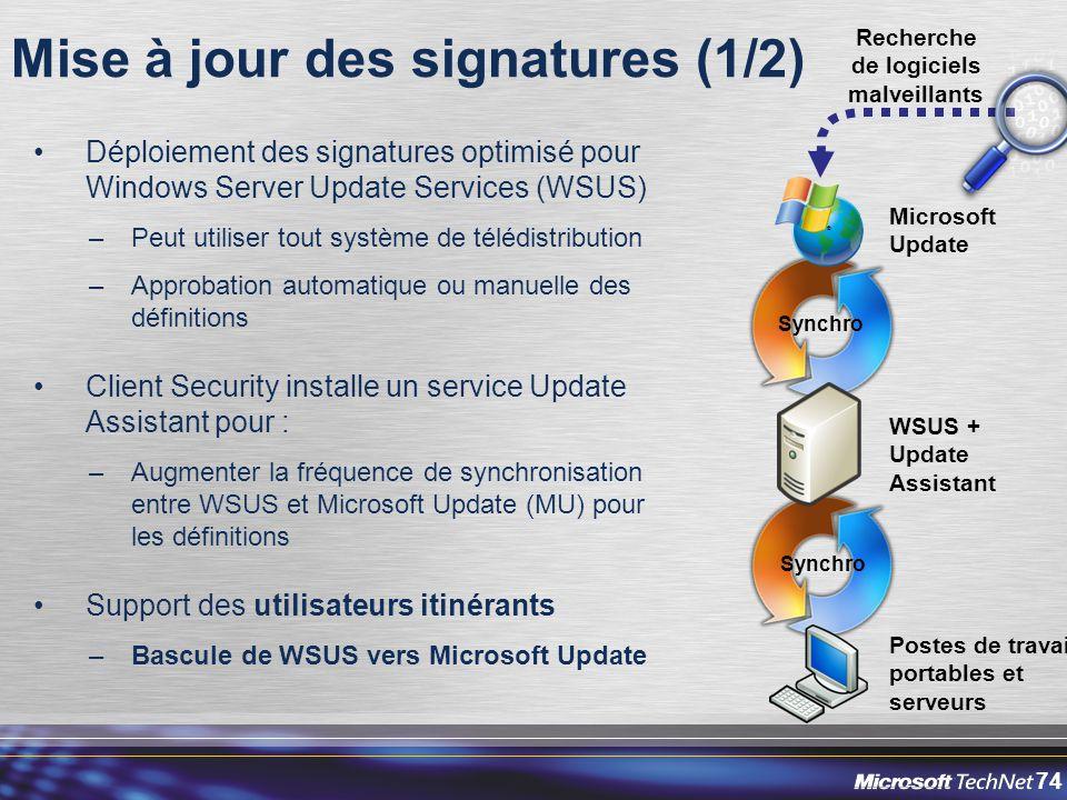 74 Mise à jour des signatures (1/2) Déploiement des signatures optimisé pour Windows Server Update Services (WSUS) –Peut utiliser tout système de télé