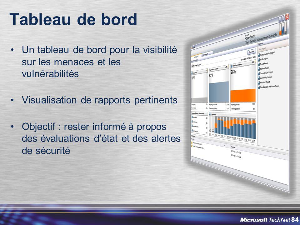 84 Tableau de bord Un tableau de bord pour la visibilité sur les menaces et les vulnérabilités Visualisation de rapports pertinents Objectif : rester informé à propos des évaluations d'état et des alertes de sécurité