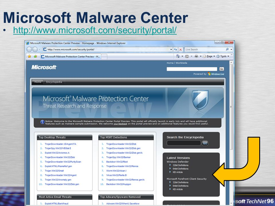 96 Microsoft Malware Center http://www.microsoft.com/security/portal/