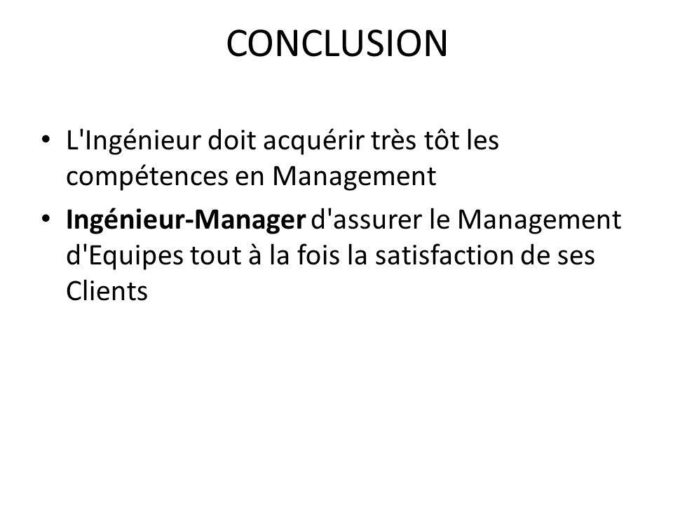 CONCLUSION L'Ingénieur doit acquérir très tôt les compétences en Management Ingénieur-Manager d'assurer le Management d'Equipes tout à la fois la sati