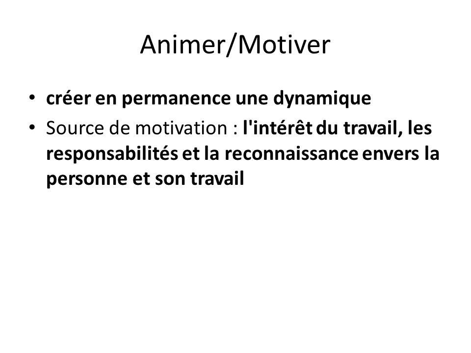 Animer/Motiver créer en permanence une dynamique Source de motivation : l'intérêt du travail, les responsabilités et la reconnaissance envers la perso