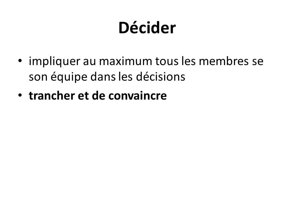 Décider impliquer au maximum tous les membres se son équipe dans les décisions trancher et de convaincre