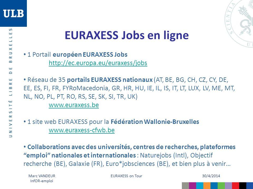 30/4/2014 EURAXESS on Tour Marc VANDEUR InfOR-emploi EURAXESS Jobs en ligne 1 Portail européen EURAXESS Jobs http://ec.europa.eu/euraxess/jobs Réseau de 35 portails EURAXESS nationaux (AT, BE, BG, CH, CZ, CY, DE, EE, ES, FI, FR, FYRoMacedonia, GR, HR, HU, IE, IL, IS, IT, LT, LUX, LV, ME, MT, NL, NO, PL, PT, RO, RS, SE, SK, SI, TR, UK) www.euraxess.be 1 site web EURAXESS pour la Fédération Wallonie-Bruxelles www.euraxess-cfwb.be Collaborations avec des universités, centres de recherches, plateformes emploi nationales et internationales : Naturejobs (Intl), Objectif recherche (BE), Galaxie (FR), Euro*jobsciences (BE), et bien plus à venir…