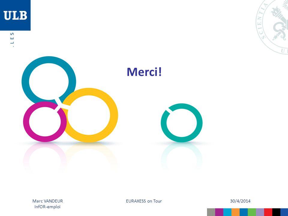30/4/2014 EURAXESS on Tour Marc VANDEUR InfOR-emploi Merci!