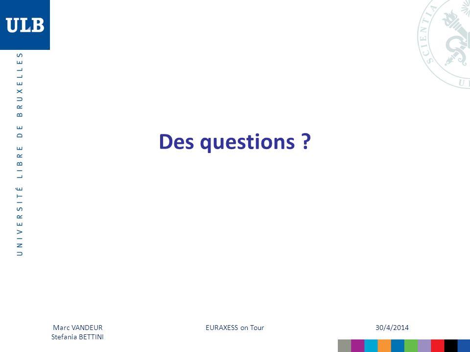 30/4/2014 EURAXESS on Tour Marc VANDEUR InfOR-emploi Des questions ? Marc VANDEUR Stefania BETTINI