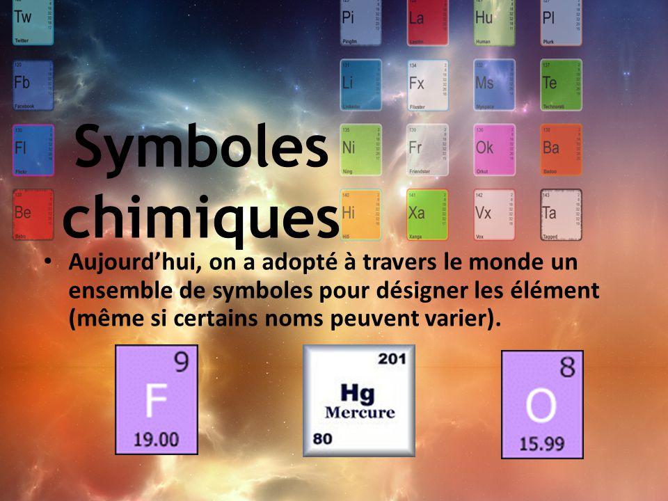 Symboles chimiques Aujourd'hui, on a adopté à travers le monde un ensemble de symboles pour désigner les élément (même si certains noms peuvent varier
