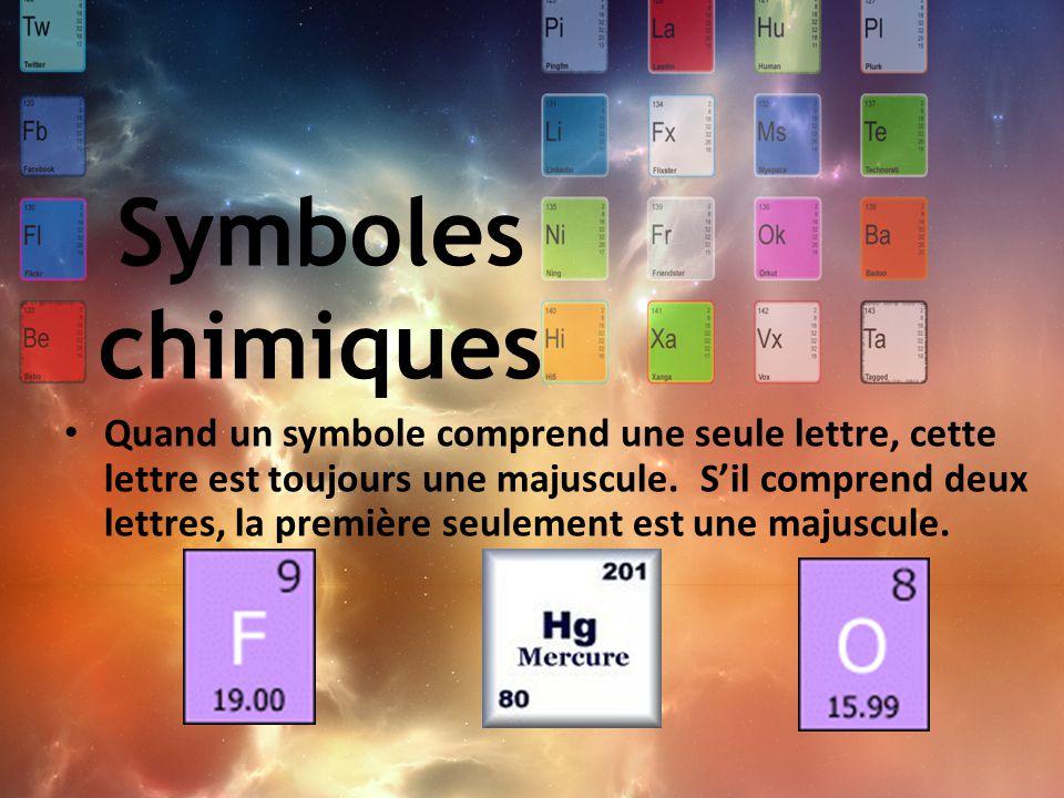 Comme les symboles représentent des éléments, des combinaisons de symboles représenteront des composés.