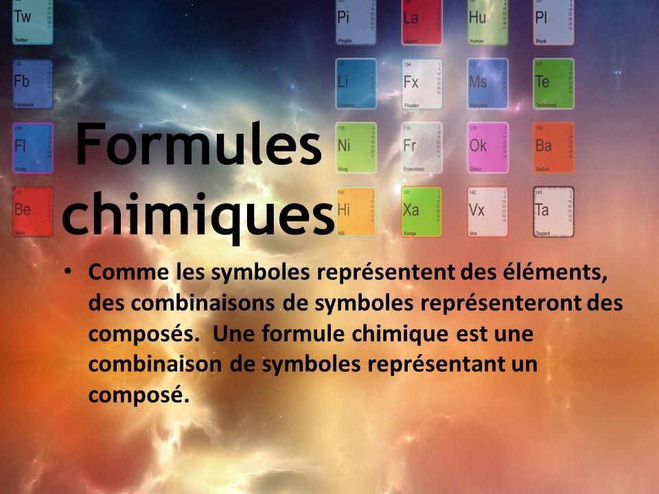 Comme les symboles représentent des éléments, des combinaisons de symboles représenteront des composés. Une formule chimique est une combinaison de sy