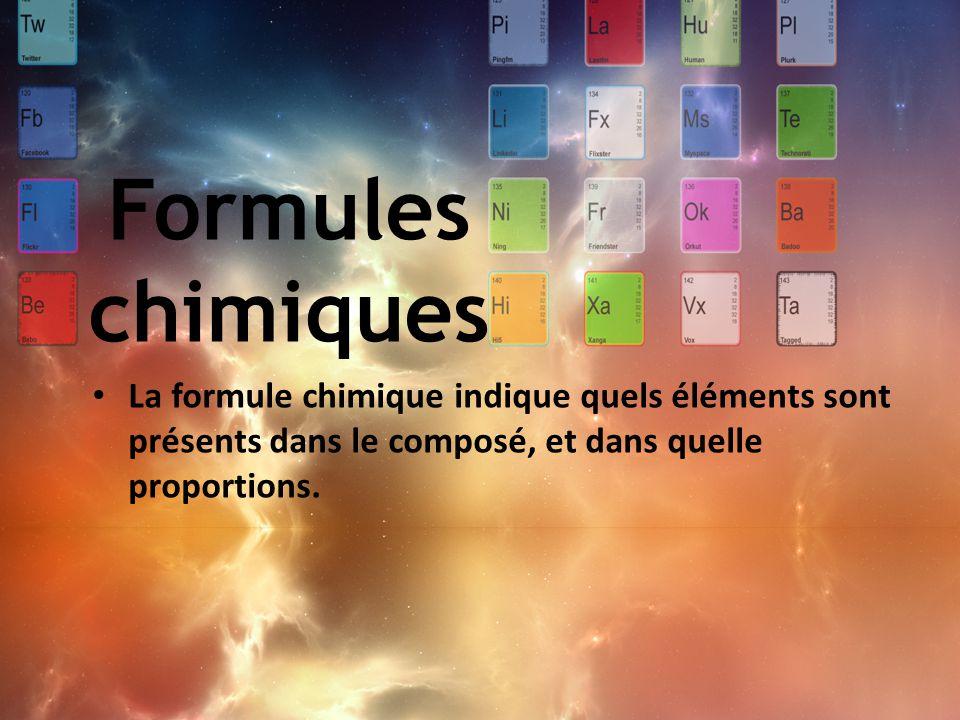 La formule chimique indique quels éléments sont présents dans le composé, et dans quelle proportions. Formules chimiques