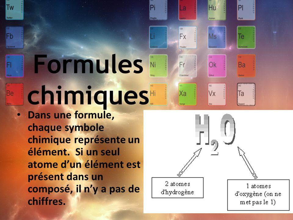 Dans une formule, chaque symbole chimique représente un élément. Si un seul atome d'un élément est présent dans un composé, il n'y a pas de chiffres.