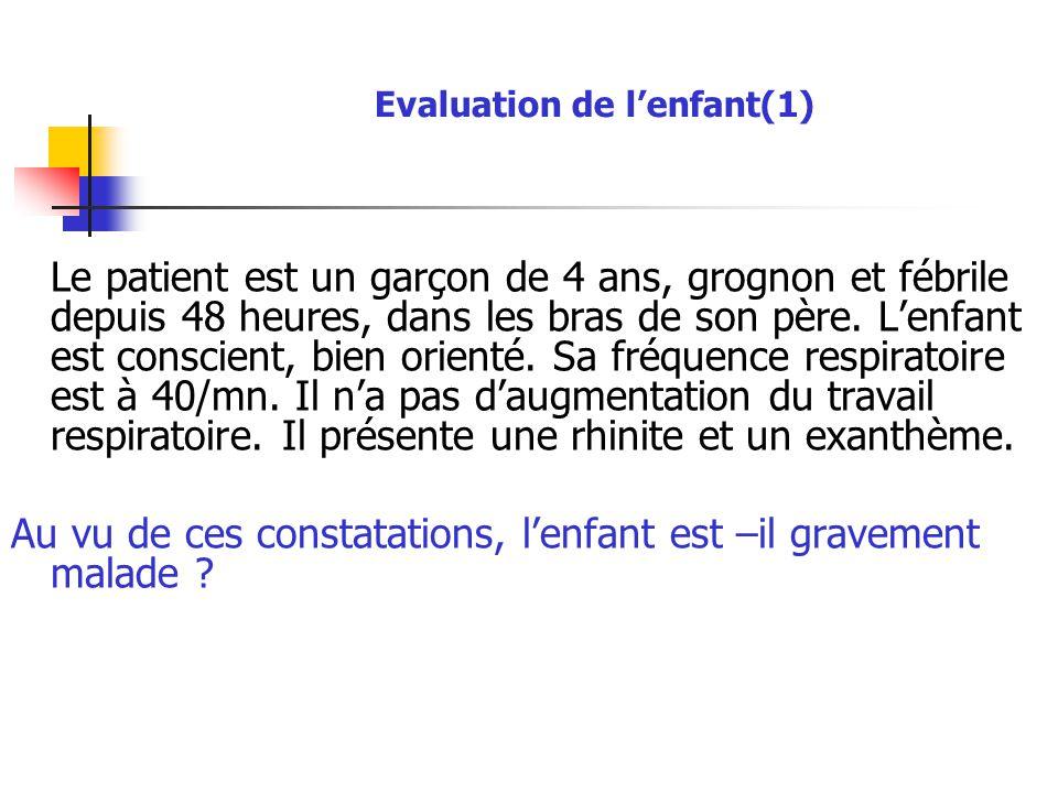 Evaluation de l'enfant(1) Le patient est un garçon de 4 ans, grognon et fébrile depuis 48 heures, dans les bras de son père. L'enfant est conscient, b