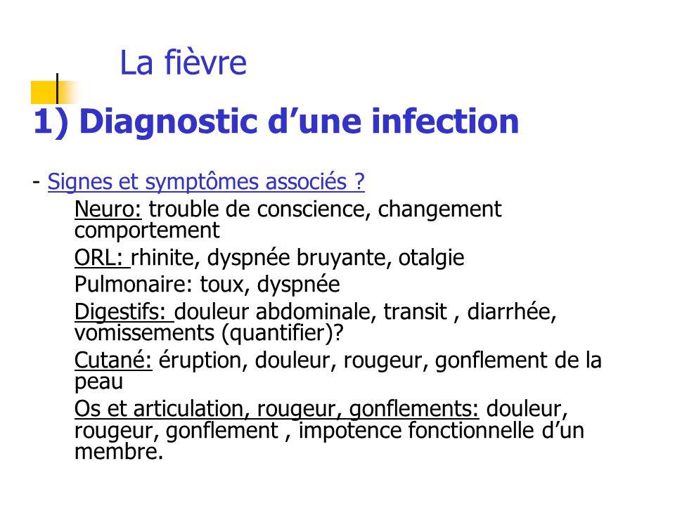 La fièvre 1) Diagnostic d'une infection - Signes et symptômes associés ? Neuro: trouble de conscience, changement comportement ORL: rhinite, dyspnée b