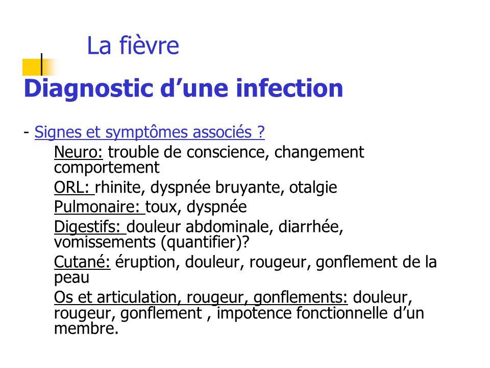 La fièvre Diagnostic d'une infection - Signes et symptômes associés ? Neuro: trouble de conscience, changement comportement ORL: rhinite, dyspnée bruy