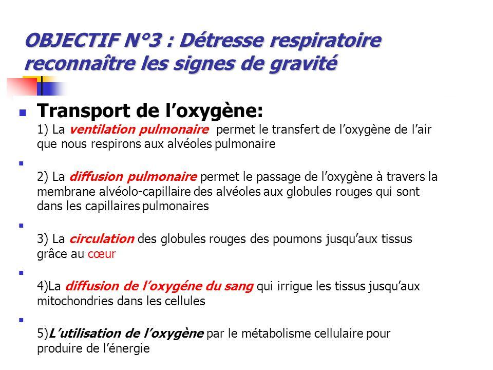 Transport de l'oxygène: 1) La ventilation pulmonaire permet le transfert de l'oxygène de l'air que nous respirons aux alvéoles pulmonaire 2) La diffus