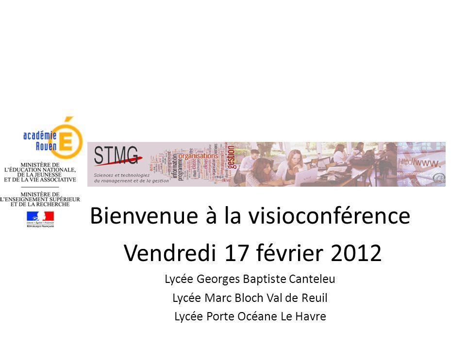 Bienvenue à la visioconférence Vendredi 17 février 2012 Lycée Georges Baptiste Canteleu Lycée Marc Bloch Val de Reuil Lycée Porte Océane Le Havre
