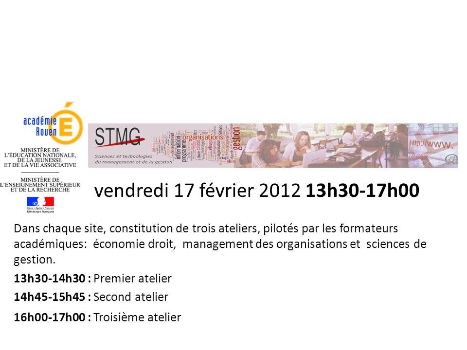 vendredi 17 février 2012 13h30-17h00 Dans chaque site, constitution de trois ateliers, pilotés par les formateurs académiques: économie droit, managem