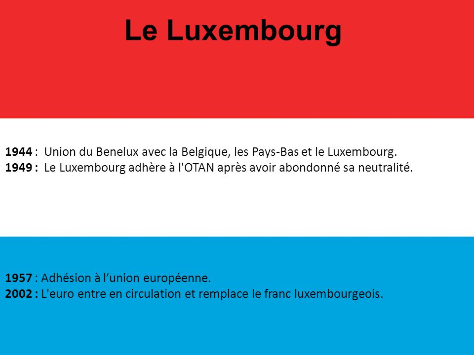 Le Luxembourg 1944 : Union du Benelux avec la Belgique, les Pays-Bas et le Luxembourg. 1949 : Le Luxembourg adhère à l'OTAN après avoir abondonné sa n