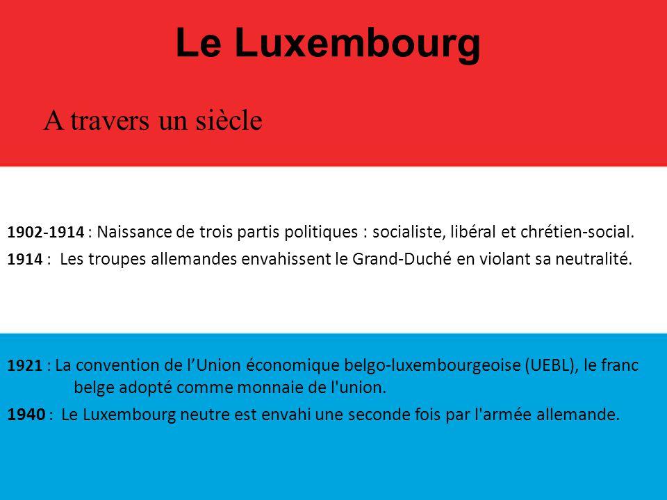 Le Luxembourg 1944 : Union du Benelux avec la Belgique, les Pays-Bas et le Luxembourg.