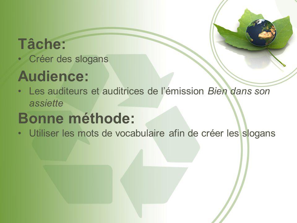 Tâche: Créer des slogans Audience: Les auditeurs et auditrices de l'émission Bien dans son assiette Bonne méthode: Utiliser les mots de vocabulaire af