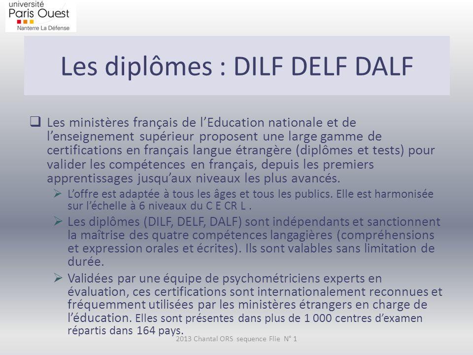 Les diplômes : DILF DELF DALF 2013 Chantal ORS sequence Flie N° 1  Les ministères français de l'Education nationale et de l'enseignement supérieur proposent une large gamme de certifications en français langue étrangère (diplômes et tests) pour valider les compétences en français, depuis les premiers apprentissages jusqu'aux niveaux les plus avancés.