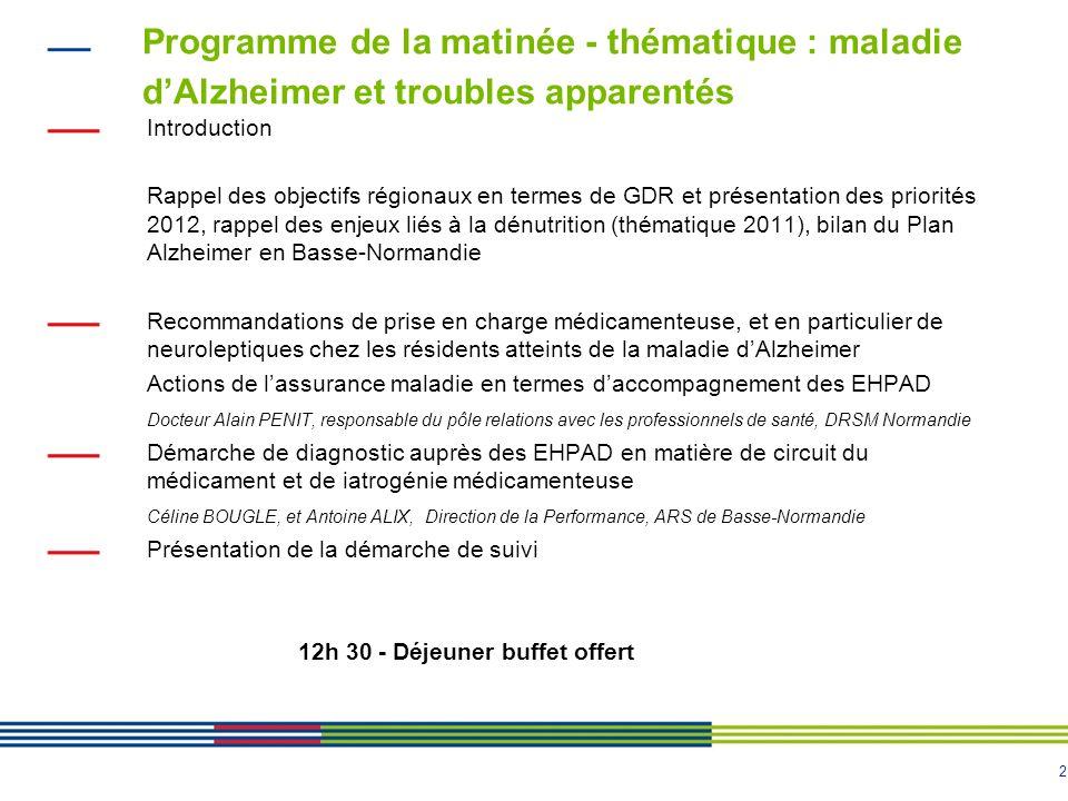 2 Programme de la matinée - thématique : maladie d'Alzheimer et troubles apparentés Introduction Rappel des objectifs régionaux en termes de GDR et pr