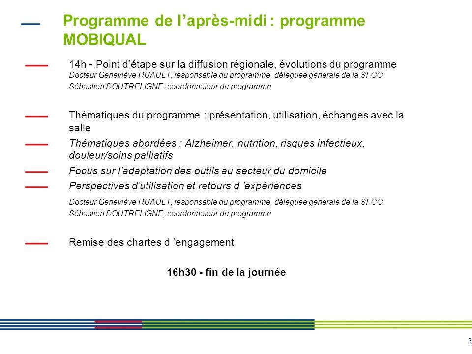 3 Programme de l'après-midi : programme MOBIQUAL 14h - Point d'étape sur la diffusion régionale, évolutions du programme Docteur Geneviève RUAULT, res