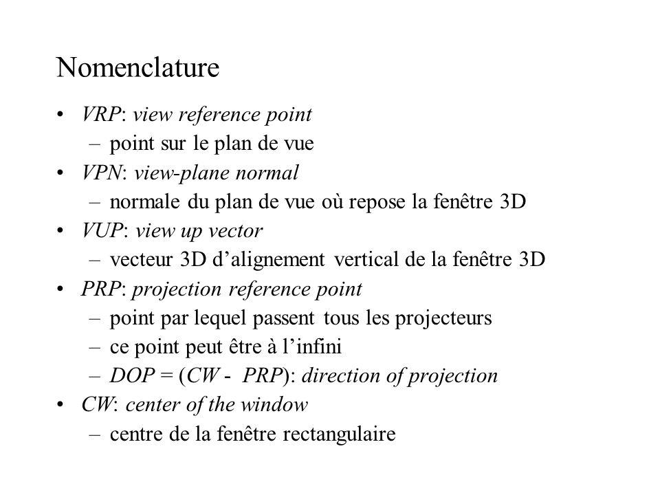 Nomenclature VRP: view reference point –point sur le plan de vue VPN: view-plane normal –normale du plan de vue où repose la fenêtre 3D VUP: view up v