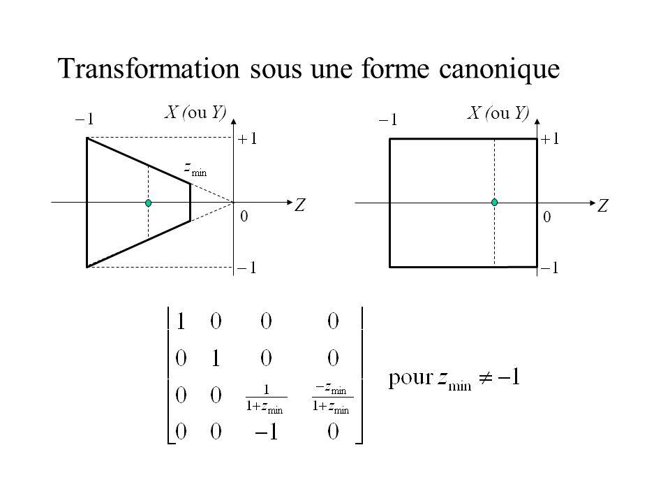 Transformation sous une forme canonique Z X (ou Y) 0 Z 0
