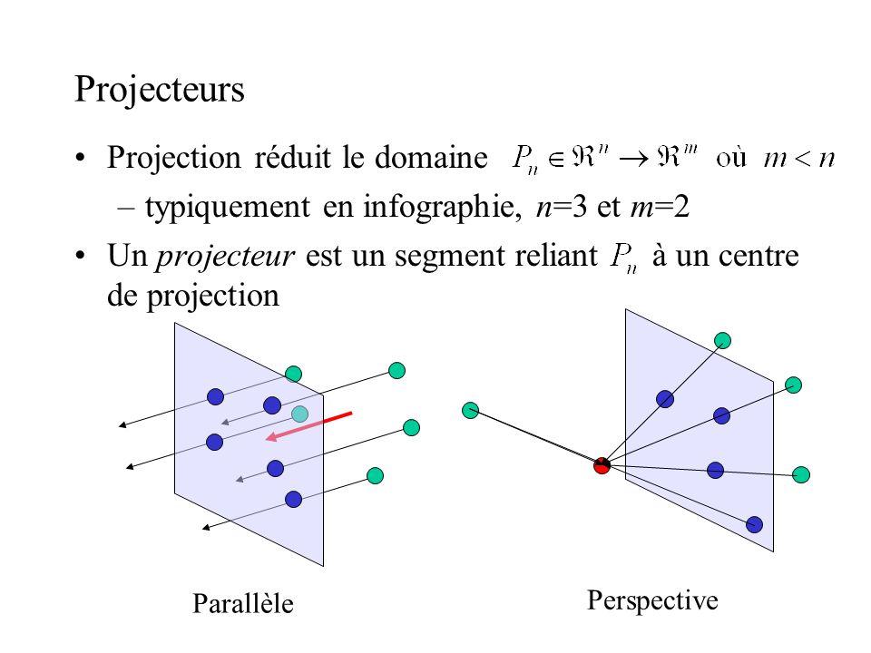 Projecteurs Projection réduit le domaine –typiquement en infographie, n=3 et m=2 Un projecteur est un segment reliant à un centre de projection Parall