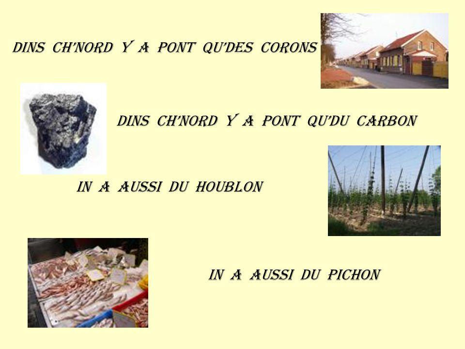 Dins ch'nord y a pont qu'des corons Dins ch'nord y a pont qu'du carbon In a aussi du houblon In a aussi du pichon