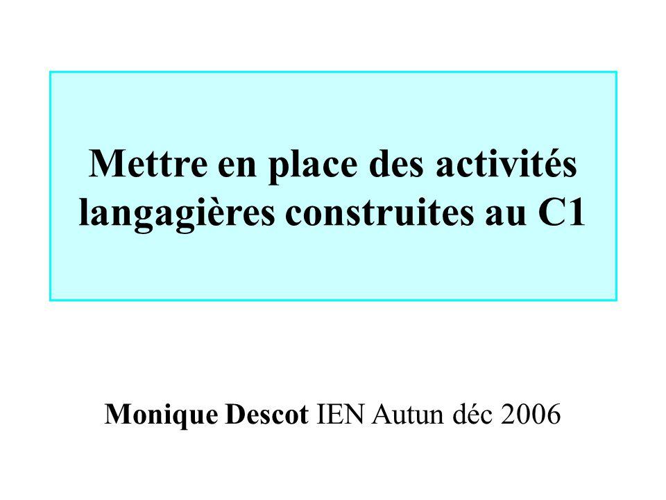 Mettre en place des activités langagières construites au C1 Monique Descot IEN Autun déc 2006