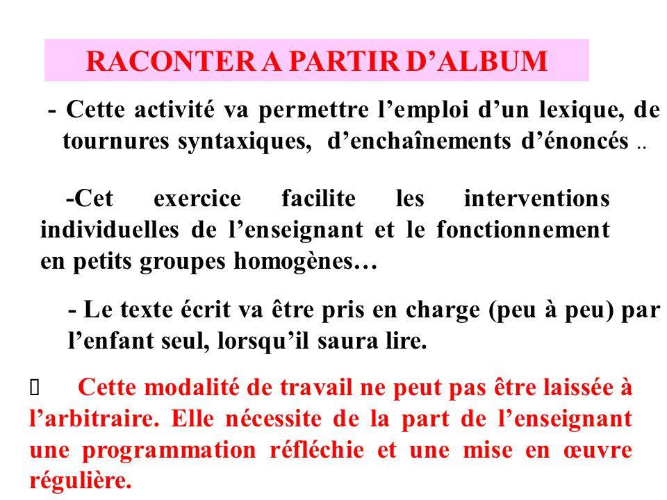 RACONTER A PARTIR D'ALBUM - Cette activité va permettre l'emploi d'un lexique, de tournures syntaxiques, d'enchaînements d'énoncés.. - Le texte écrit