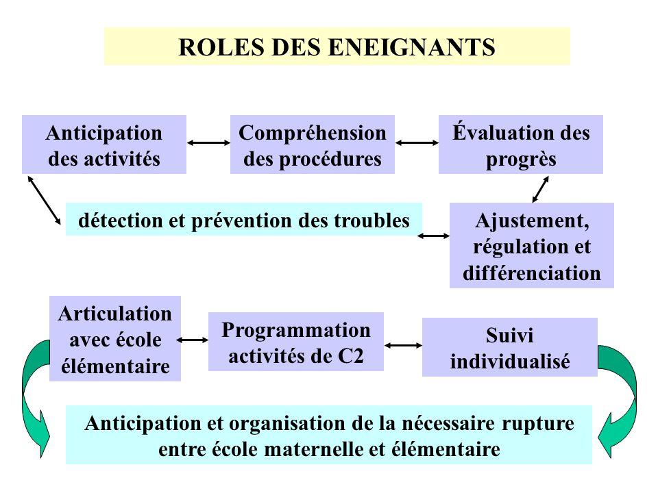 ROLES DES ENEIGNANTS Anticipation des activités Compréhension des procédures Évaluation des progrès Ajustement, régulation et différenciation détectio