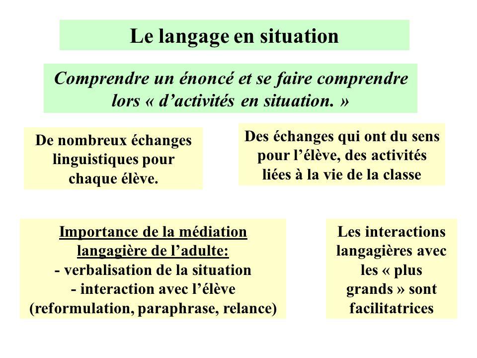 Le langage en situation Comprendre un énoncé et se faire comprendre lors « d'activités en situation. » De nombreux échanges linguistiques pour chaque