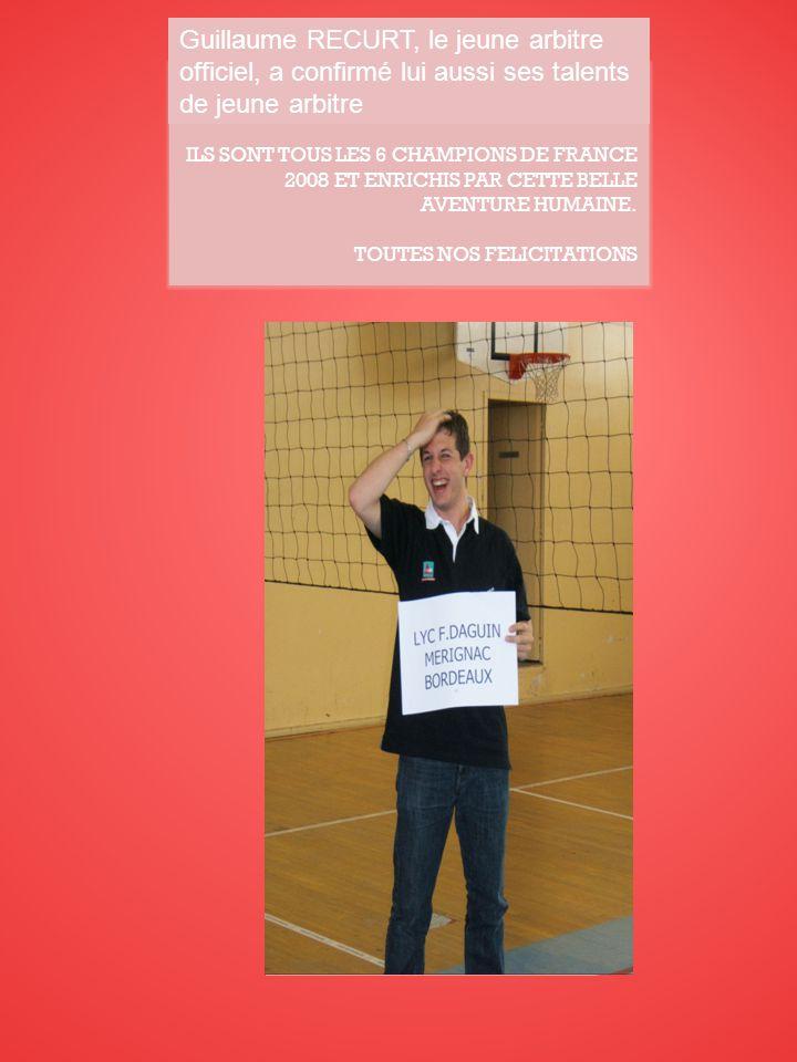 Guillaume RECCURT, le jeune arbitre officiel a confirmé lui aussi ses talents de jeune arbitre.