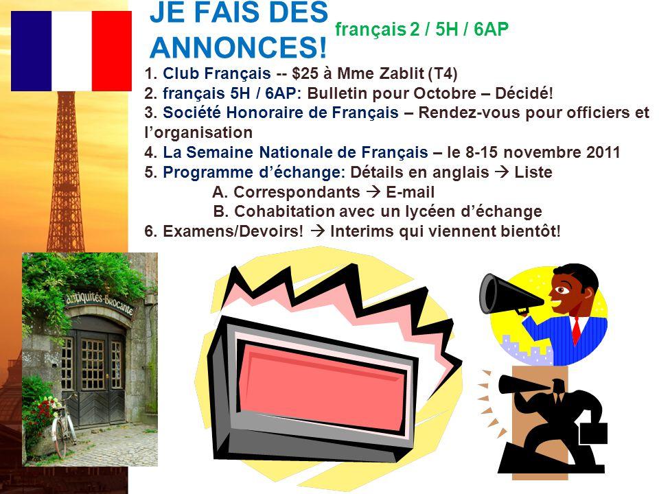 français 5H le 29 septembre 2011 ActivitéClasseur AP French: Preparing for the French Language and Culture Exam: Interpretive Communication, Print Tex