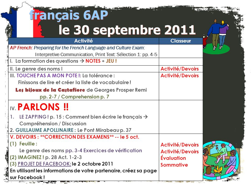 JE FAIS DES ANNONCES! français 2 / 5H / 6AP 1. Club Français -- $25 à Mme Zablit (T4) 2. français 5H / 6AP: Bulletin pour Octobre – Décidé! 3. Société