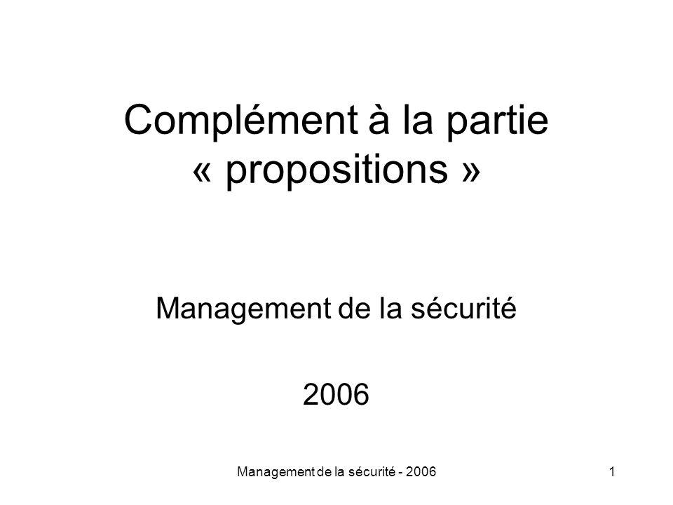 Management de la sécurité - 20061 Complément à la partie « propositions » Management de la sécurité 2006