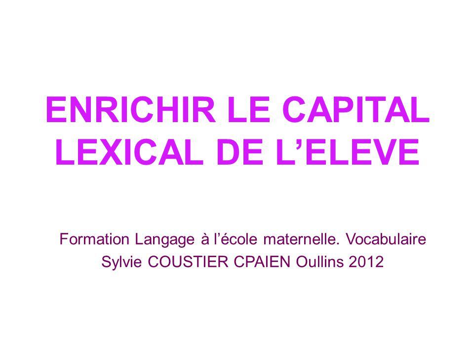 ENRICHIR LE CAPITAL LEXICAL DE L'ELEVE Formation Langage à l'école maternelle. Vocabulaire Sylvie COUSTIER CPAIEN Oullins 2012