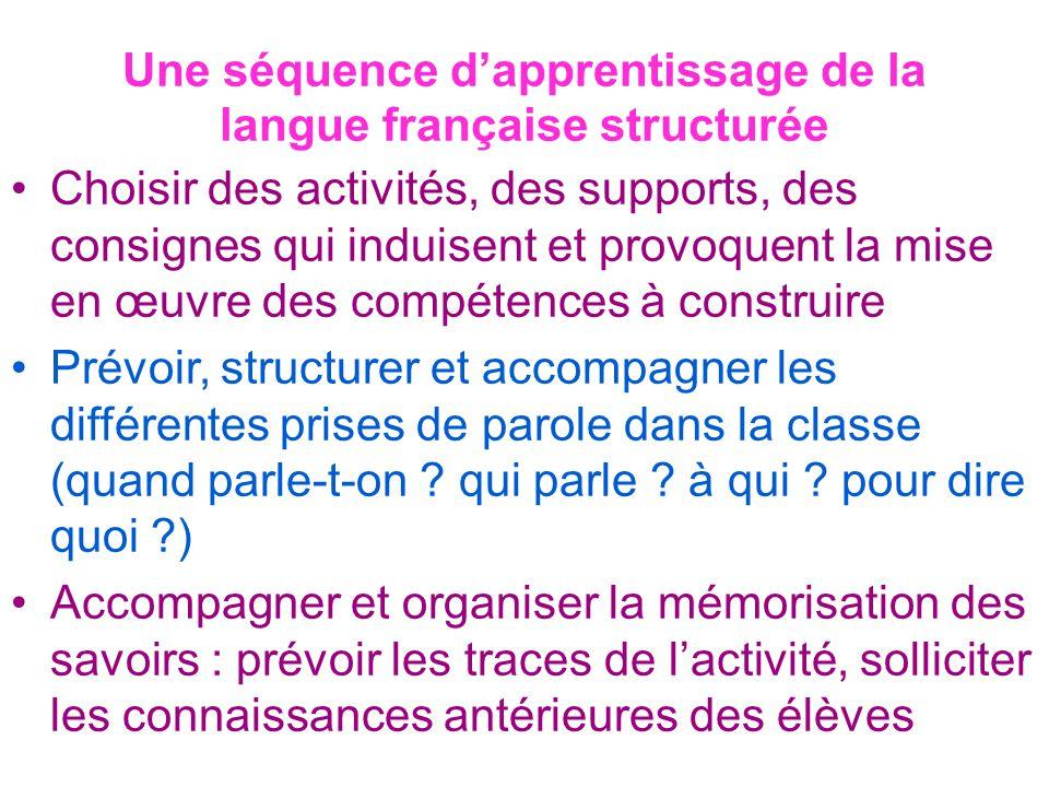 Une séquence d'apprentissage de la langue française structurée Choisir des activités, des supports, des consignes qui induisent et provoquent la mise