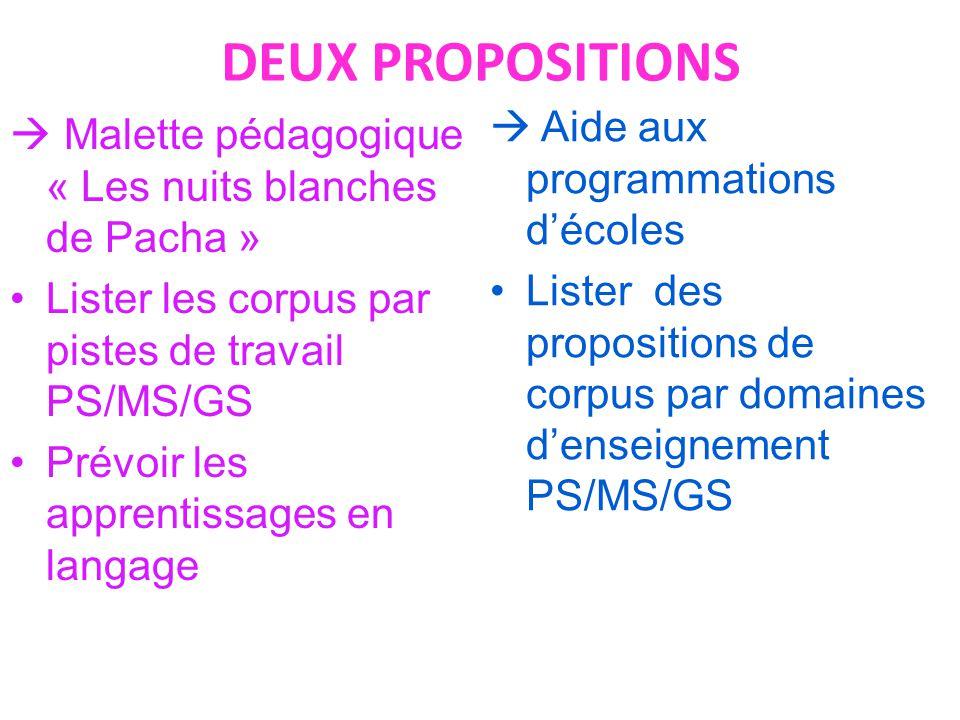 DEUX PROPOSITIONS  Malette pédagogique « Les nuits blanches de Pacha » Lister les corpus par pistes de travail PS/MS/GS Prévoir les apprentissages en