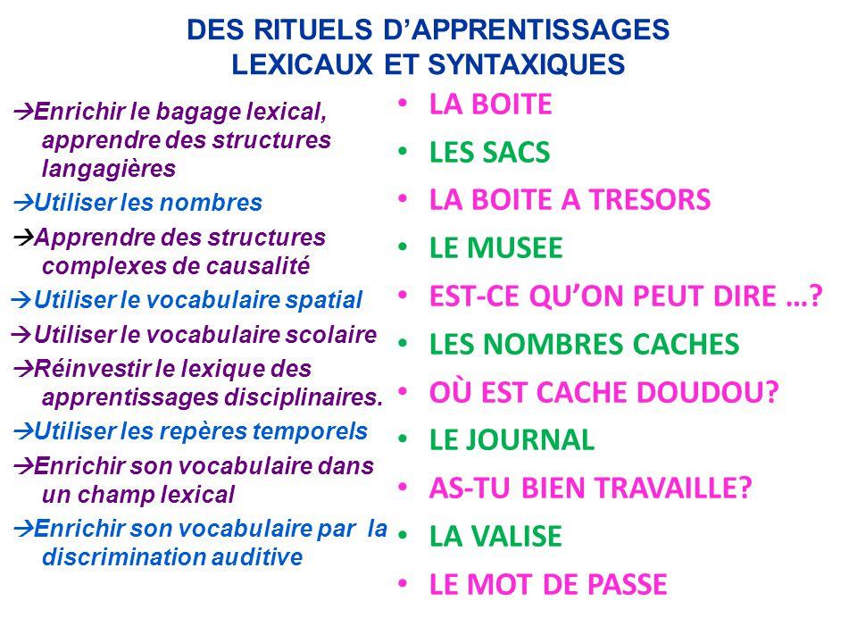 DES RITUELS D'APPRENTISSAGES LEXICAUX ET SYNTAXIQUES  Enrichir le bagage lexical, apprendre des structures langagières  Utiliser les nombres  Appre