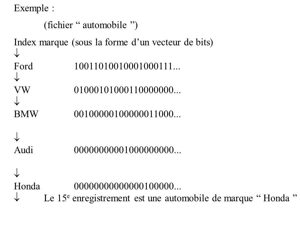 """Exemple : (fichier """" automobile """") Index marque (sous la forme d'un vecteur de bits)  Ford 10011010010001000111...  VW 01000101000110000000...  BMW"""