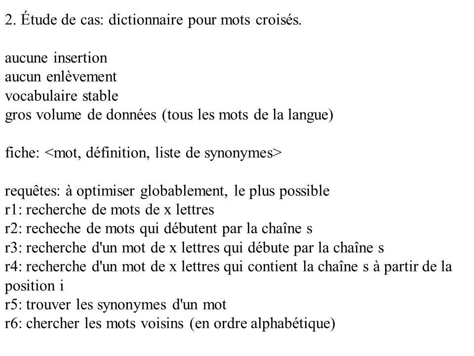 2. Étude de cas: dictionnaire pour mots croisés. aucune insertion aucun enlèvement vocabulaire stable gros volume de données (tous les mots de la lang