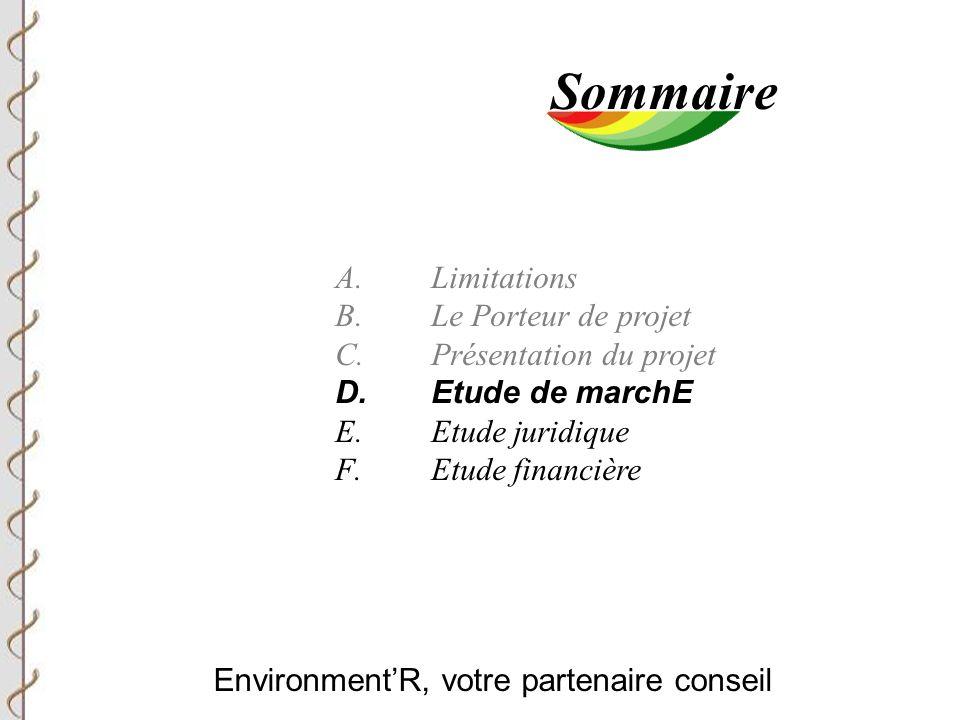 Environment'R, votre partenaire conseil Sommaire A.Limitations B.Le Porteur de projet C.Présentation du projet D.Etude de marchE E.Etude juridique F.Etude financière