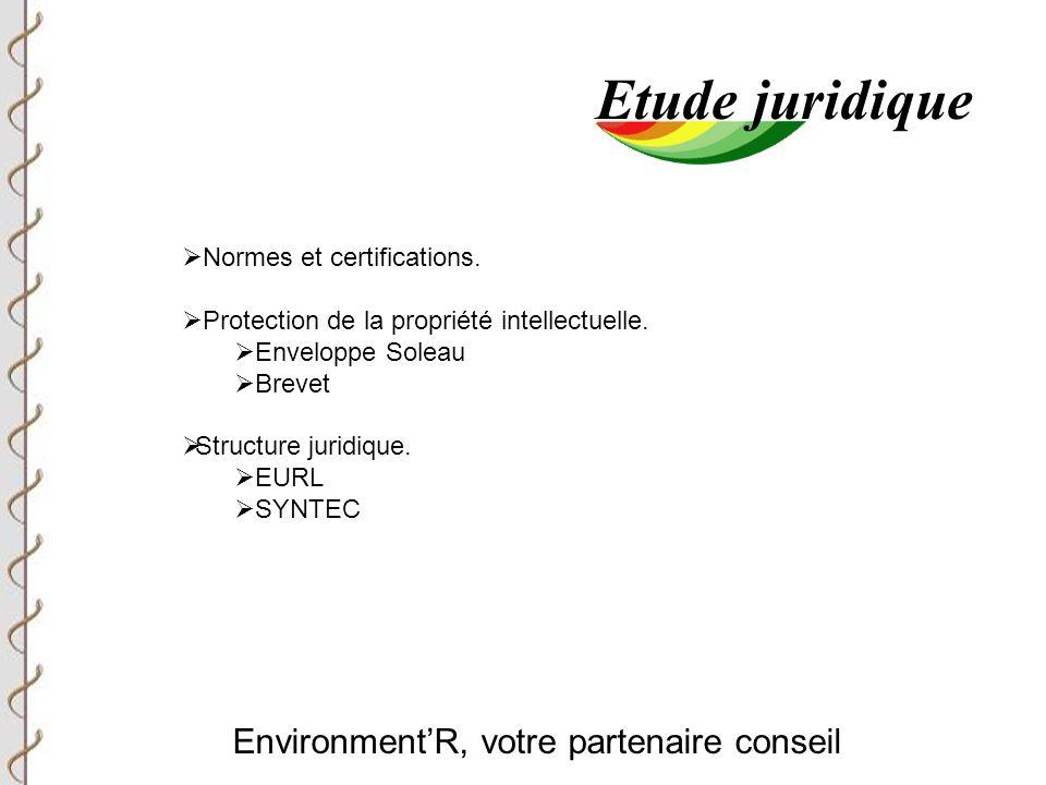 Environment'R, votre partenaire conseil Etude juridique  Normes et certifications.